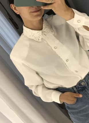 Белая блузка рубашка винтаж
