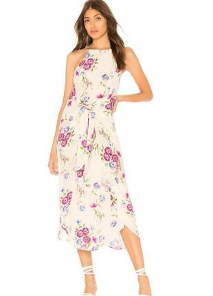 Красивое нежное брендовое платье сарафан миди в цветочный принт/ сукня міді
