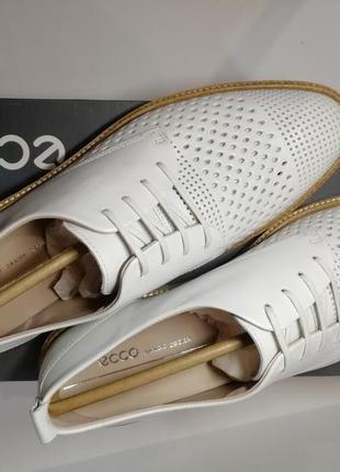 Кожаные туфли лоферы с перфорацией экко ecco incise tailored р.41 новые португалия