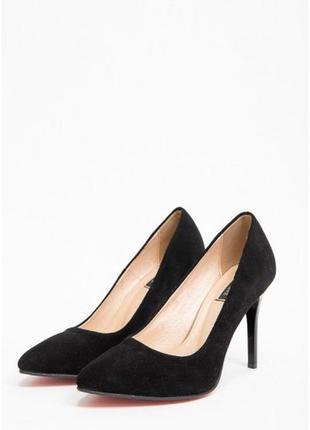 Туфли замшевые кожаные лодочки на шпильках черные