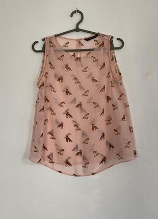 Прозрачный розовый/бежевый топ/блуза с лисичками