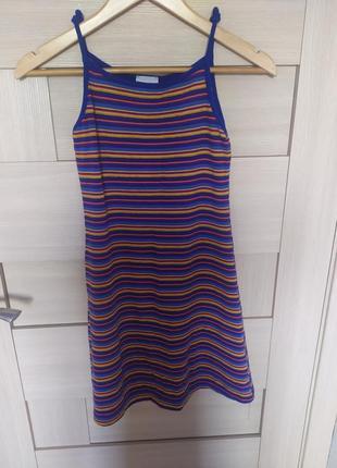 Красивое лёгкое летнее платье сарафан на тонких брительках разноцветное яркое на 158 252 12 13 лет