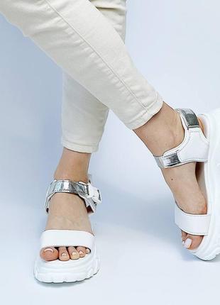 Босоножки шлепанцы эко кожа белый на высокой подошве спортивные сандалии6 фото