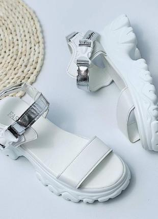 Босоножки шлепанцы эко кожа белый на высокой подошве спортивные сандалии10 фото