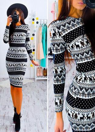 Теплое зимнее платье ангора на меху  с принтом несколько размеров от производителя