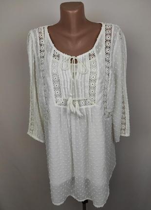 Блуза белая красивая кружевная uk 16/44/xl