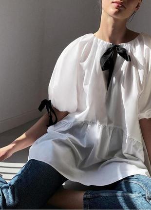 Крутая коттоновая блуза с официального сайта zara