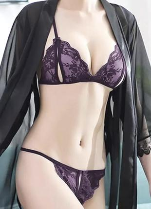 Комплект кружевного нижнего белья 2 предмета фиолетовый цвет / большая распродажа ღ ❥ ❤