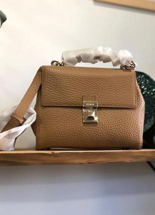 Сумка furla joann pebbled leather top handle bag кожа оригинал