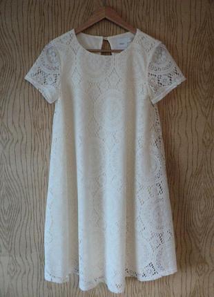 Платье asos maternity кружевное белое свободное для беременных а-образное коктейльное