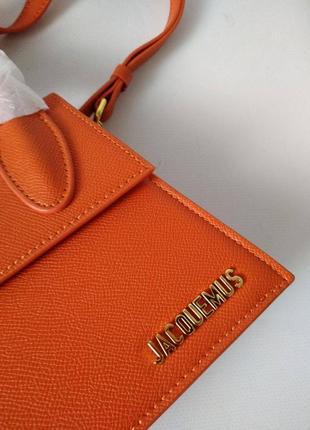 Оранжевая кожаная сумка в стиле jacquemus3 фото