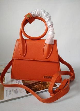 Оранжевая кожаная сумка в стиле jacquemus7 фото