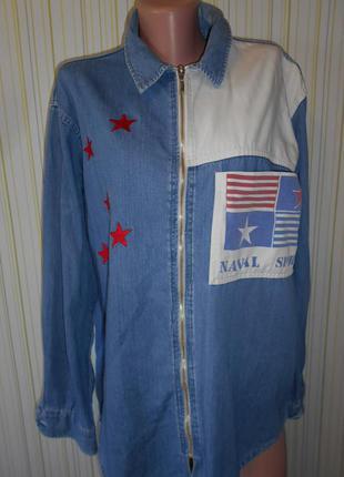#оригинальная джинсовая рубашка #naval spirit# большой размер 18#
