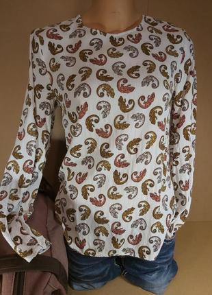 Стильная блуза игуаны h&m. белая блуза животный принт. кофточка animal print h&m