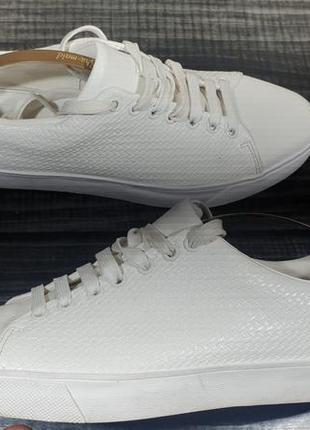Кожаные белые кроссовки zara man