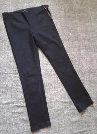 Укороченные синие стрейчевые джинсы на боковой молнии размер 12