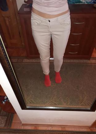 Джинсы скини skiny в обтяжку брюки штаны  бежевые