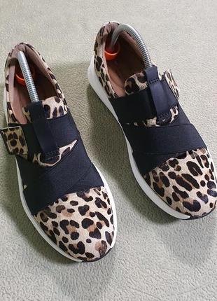Кожаные ,леопардовые кроссовки,слипоны clarks