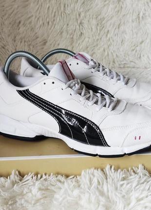 Белые кожаные кросовки puma