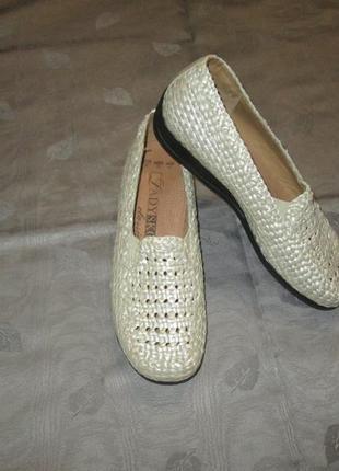 Кожаные туфли плетенка ladysko