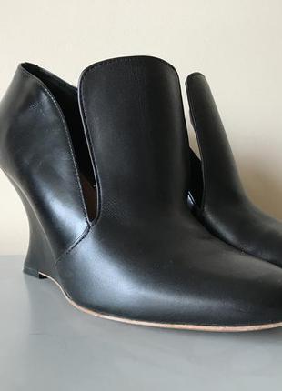 Чёрные кожаные туфли на танкетке other stories, 38 размер
