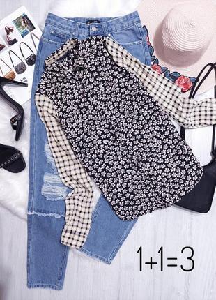 Topshop стильная натуральная рубашка xs черная узор цветы принт цветочный прямая тренд блузка
