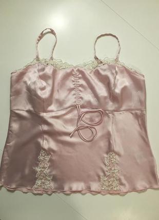 Нежнейшая розовая маечка майка с кружевами next размер 16(44)