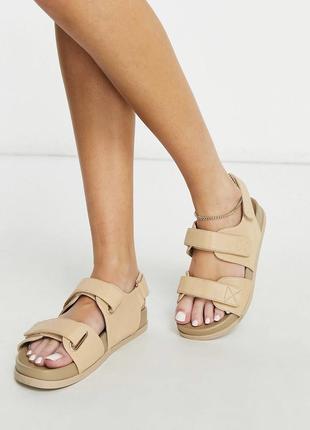 Бежевые сандалии на липучках подойдут на широкую стопу и высокий подъем, сандали asos
