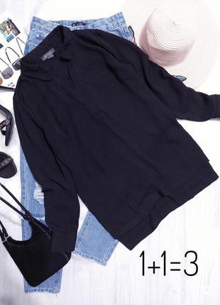 Primark базовая блузка m поло оверсайз черная блуза рубашка свободная прямая туника тренд