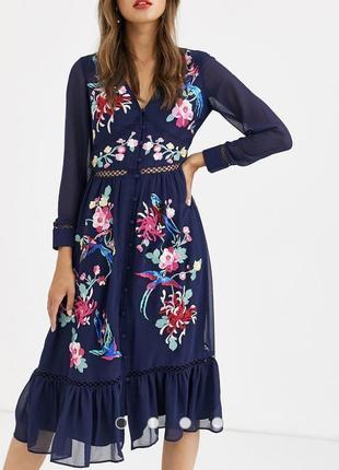 Платье миди с вышивкой asos