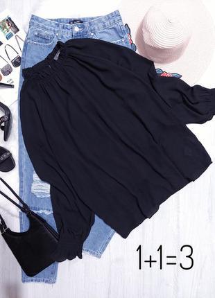 Primark базовая блузка m-l классика оверсайз черная блуза рубашка свободная прямая длинный рукав