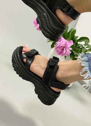 Босоножки на липучках боссоножки сандалии чёрные на высокой подошве спортивные 780-5