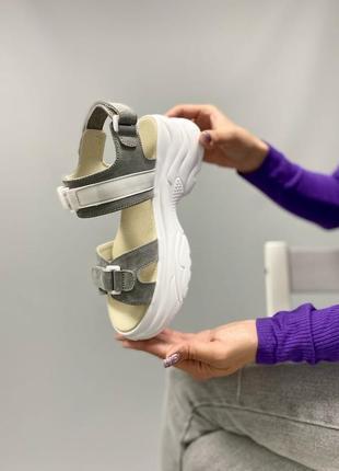 Босоножки на липучках боссоножки сандалии чёрные на высокой подошве спортивные 780-4