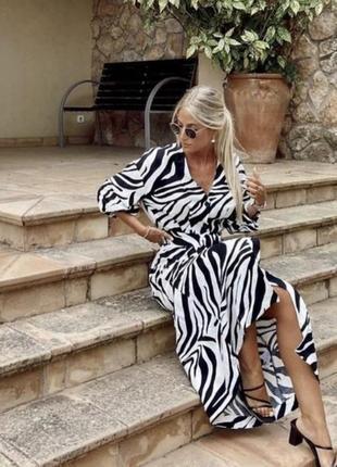 Zara принт 🦓 шикарное платье