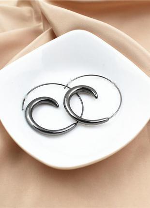 Серьги кольца спирали круглые черные крученые- дорогая брендовая бижутерия распродажа