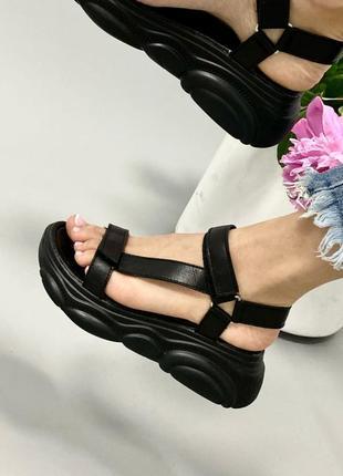 Босоножки на липучках боссоножки сандалии чёрные на высокой подошве спортивные 929-2