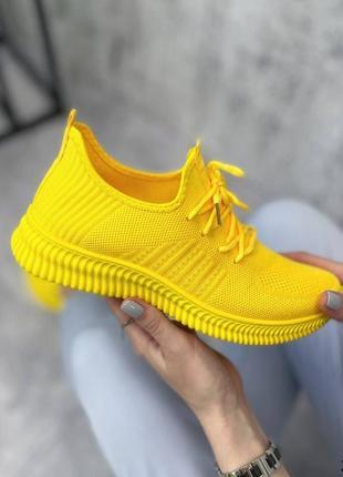 Кроссовки женские текстильные жёлтые