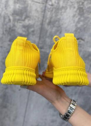 Кроссовки женские текстильные жёлтые7 фото