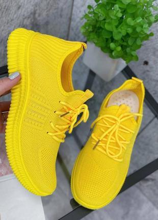 Кроссовки женские текстильные жёлтые5 фото