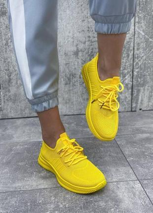 Кроссовки женские текстильные жёлтые3 фото
