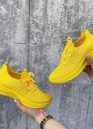 Кроссовки женские текстильные жёлтые4 фото