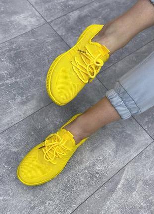 Кроссовки женские текстильные жёлтые6 фото