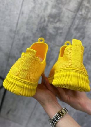 Кроссовки желтые текстильные мокасины3 фото