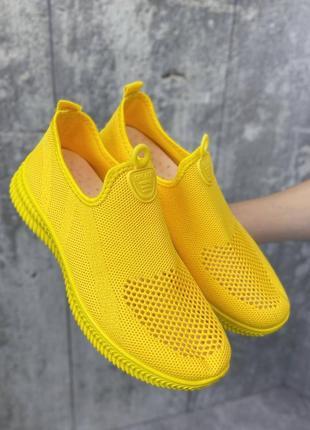 Кроссовки желтые текстильные мокасины1 фото