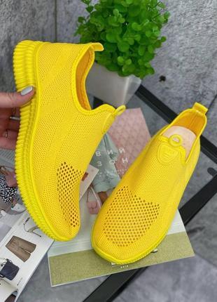 Кроссовки желтые текстильные мокасины4 фото