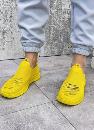 Кроссовки желтые текстильные мокасины6 фото