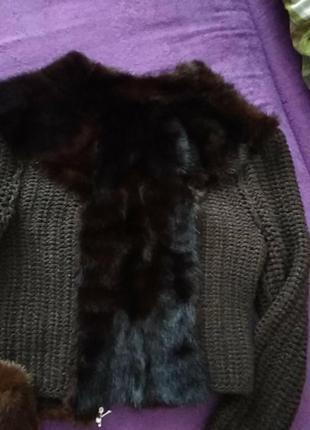 Женская кофточка с мехом норкой,размер 40-42