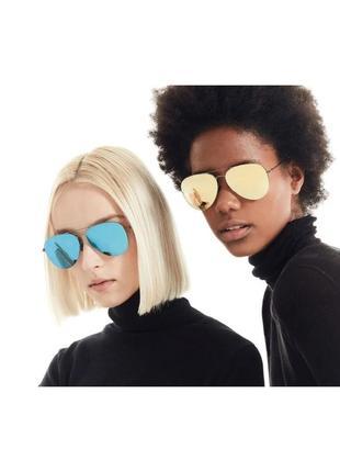 Солнцезащитные очки капли авиаторы круглые с зеркальными линзами стёклами стеклами металлической оправой серебристые серые салатовые жёлтые желтые