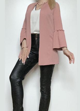 Пудровый кардиган накидка пиджак жакет кофта рукав волан размер eur 36