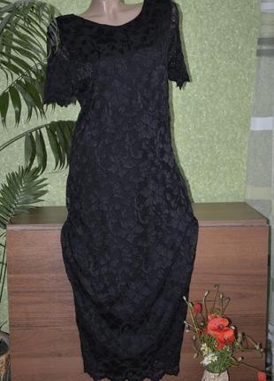 Шикарное черное кружевное платье